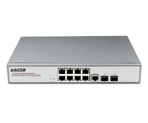 DG-33108PFM-at - Управляемый коммутатор L2 на 10 портов: 8x 10/100/1000M RJ45  с PoE+(30 Вт) + 2x 100/1000M SFP слота