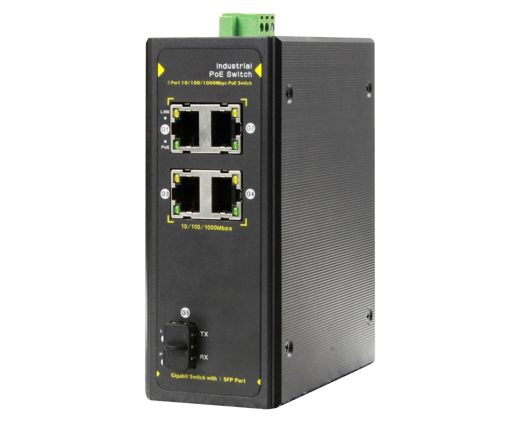 DG-IPS33054PF - Неуправляемый 5-ти портовый гигабитный коммутатор с PoE: 4 x 1Гб порта RJ45 c PoE, 1 x 1Гб с SFP