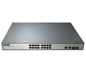 DG-31016PFM-at - Управляемый коммутатор L2 на 18 портов: 16x 10/100M с RJ45 с PoE+(30 Вт) + 2x 1Гб TP/SFP комбо-порта.