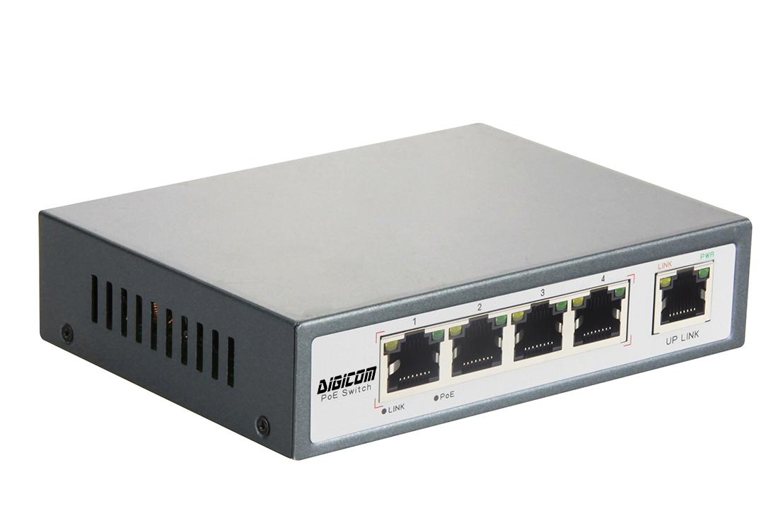 DG-34001P - Неуправляемый 5-ти портовый коммутатор PoE c повышенной мощностью: 5 x 10/100M  RJ45 и 1 х 10/100M с PoE (60 Вт)