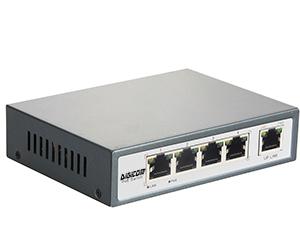 DG-34002P - Неуправляемый 5-ти портовый коммутатор PoE c повышенной мощностью:  5 x 10/100M RJ45 с 2 х 10/100M PoE(60 Вт) +1 Uplink