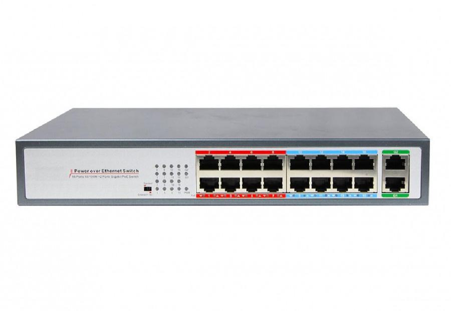 DG-31016PL - Неуправляемый 16-ти портовый коммутатор: 16 х 10/100M RJ45 + 2 х Gigabit uplink