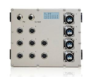 DG-IES-EN2012M new - Защищенный 12-ти портовый управляемый коммутатор L2+: 8 х 100M с M12 + 4 х 100M FX (SM/MM) с LC