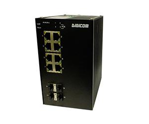 DG-IES-2512MP - Управляемый 12-ти портовый коммутатор L2 с PoE: 4 Gigabit SFP + 8х10/100/1000M RJ45 с PoE+ (30 Вт), питание AC220В